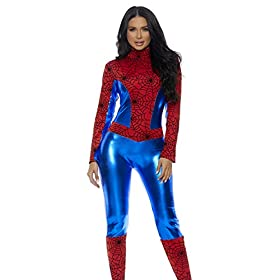 Forplay Womens Metallic Hero Mock Neck Catsuit With Spider Web Print Contrast Red X Smallsmall