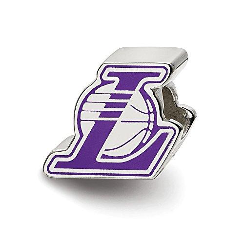 - Mia Diamonds 925 Sterling Silver NBA LogoArt Los Angeles Lakers Basketball Enl Logo Bead Charm for Charm Bracelet