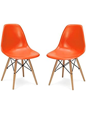 Fancierstudio Mid Century Modern Designer Chair Plastic Chair Side Chair Dinning Chair Eiffel Chair By Fancierstudio Orange Color