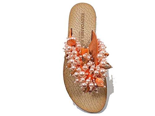 Zapatos Mujer EDDY DANIELE 37 Sandalias Naranja Perlas AX839