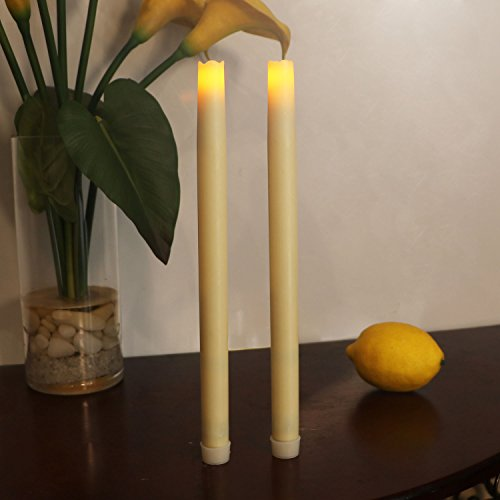 12 Inches Dripless Led Taper Candles with Timer Function, Flameless Real Wax Electric Candle, Battery Operated for Christmas and Thanksgiving, Pack of 2 (Ivory) (Taper Uk Candles)