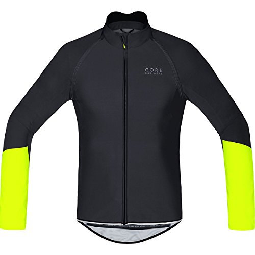 GORE BIKE WEAR, Men´s, Cycling Jersey, Detachable Sleeves, Gore Windstopper Soft Shell, Power WS SO, ZO, Size L, Black/Neon Yellow, SWZOPO