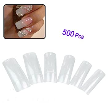 Lot de 500 faux ongles transparents en acrylique