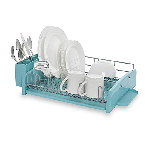 KitchenAid 3-Piece Dish Rack, Aqua Sky (Piece 3 Kitchen Set Appliance)