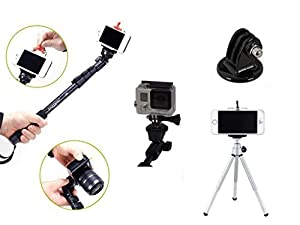 Kansang 4 in 1 High Grade Heavy Duty Extendable 48 Inch Handheld Monopod Selfie Stick+Tripod Mount Adapter+Mobile Phone Tripod Mount Adapter +Tripod Bundle Kit for GoPro Hero Black Silver 4 1/2/3/3+ Digital Camera and Cellphone Apple iPhone 6/6 Plus/5/5S/