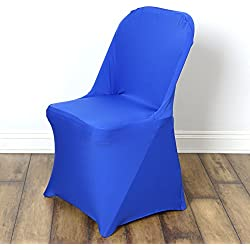BalsaCircle 10 pcs Royal Blue Spandex Strechable Folding Chair Covers Slipcovers for Wedding Party Reception Decorations