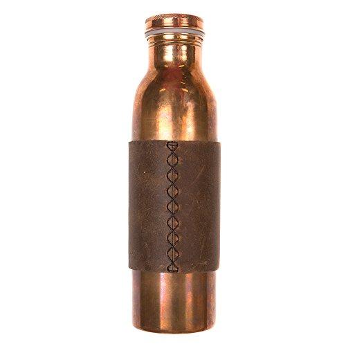 Rustico Copper Water Bottle Dark Brown Sleeve