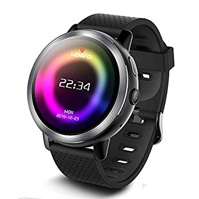 LEMFO Smart Watch, LEM8 4G LTE Smart Watch for Android Phones, Mens Smart Watches for iPhones with Android 7.1.1, 2GB + 16GB, SIM Card, 2MP HD Camera, 1.39? AMOLED Screen, Bluetooth, HR & Step Monitor