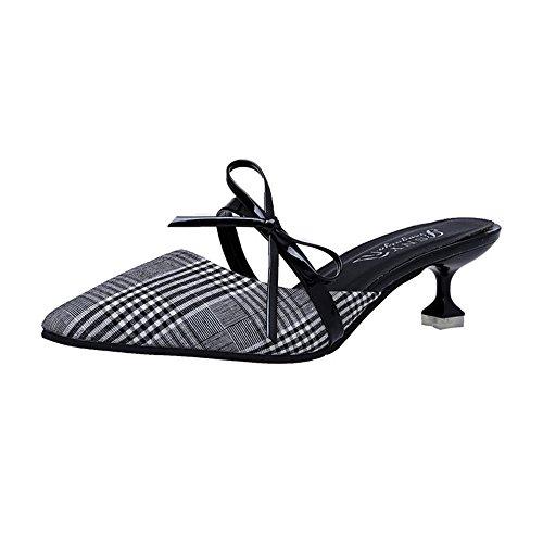 (Pointed Toe Slide Mule Sandals Stiletto High Heel Dress Pump Shoes(Grey 35/4.5 B(M) US Women) )