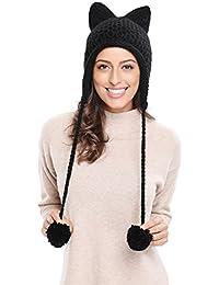 Winter Cute Cat Ears Knit Hat Ear Flap Crochet Beanie Hat