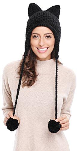 Bellady Winter Cute Cat Ears Knit Hat Ear Flap Crochet Beanie Hat, Black