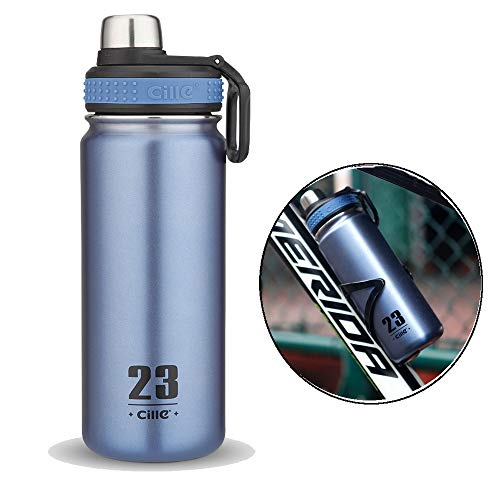 CILLE Stainless Steel Water Bottles, 24 oz/680ml Insulated Water Bottles,BPA Free Double Wall Leak Proof Bicycle Water Bottle for Sports,Durable Water Bottle for Hot Cold Drink for Outdoors (Blue)