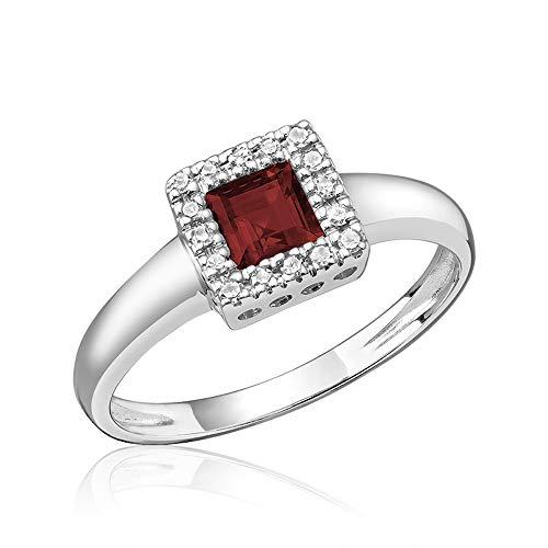 10K Gold Diamond and Princess cut Garnet Ring (0.08TDW H-I Color,I1 Clarity) Size 6 (garnet)