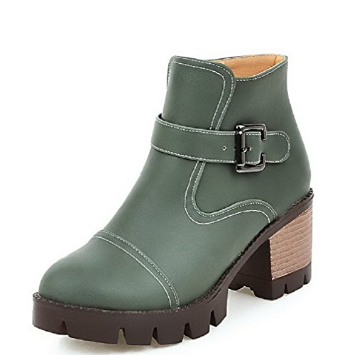 Allhqfashion Women's Round Closed Toe Low-Top High-Heels Solid PU Boots Green Nxvwv