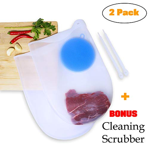 Chef Smarts - 2 Pack Premium Reusable Large Cooking Silicone Sous Vide Bags | + 1 FREE Cleaning Scrubber | Fresh Keeping | Eco-Friendly | Food Preservation | Immersion Circulators | Kitchen accessorie
