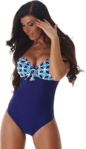PF-Moda de baño de una pieza de baño mujeres Push-Up Carrier Uni flor hebilla decorativa con cuello en V Marina-turquesa