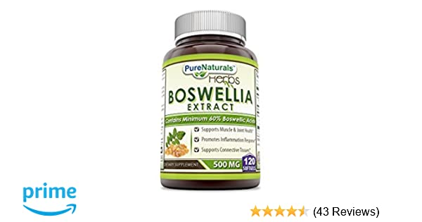 Pure Naturals Boswellia Extract 500 Mg 120 Softgels -Supports Muscle &  Joint Health* - Supports