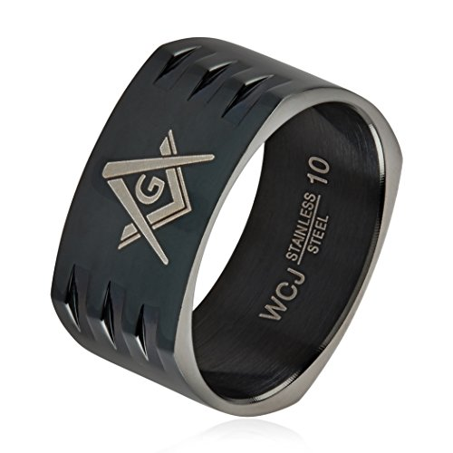(West Coast Jewelry Masonic Black Plated Stainless Steel Round Square Band Ring (10mm) - Size 8)