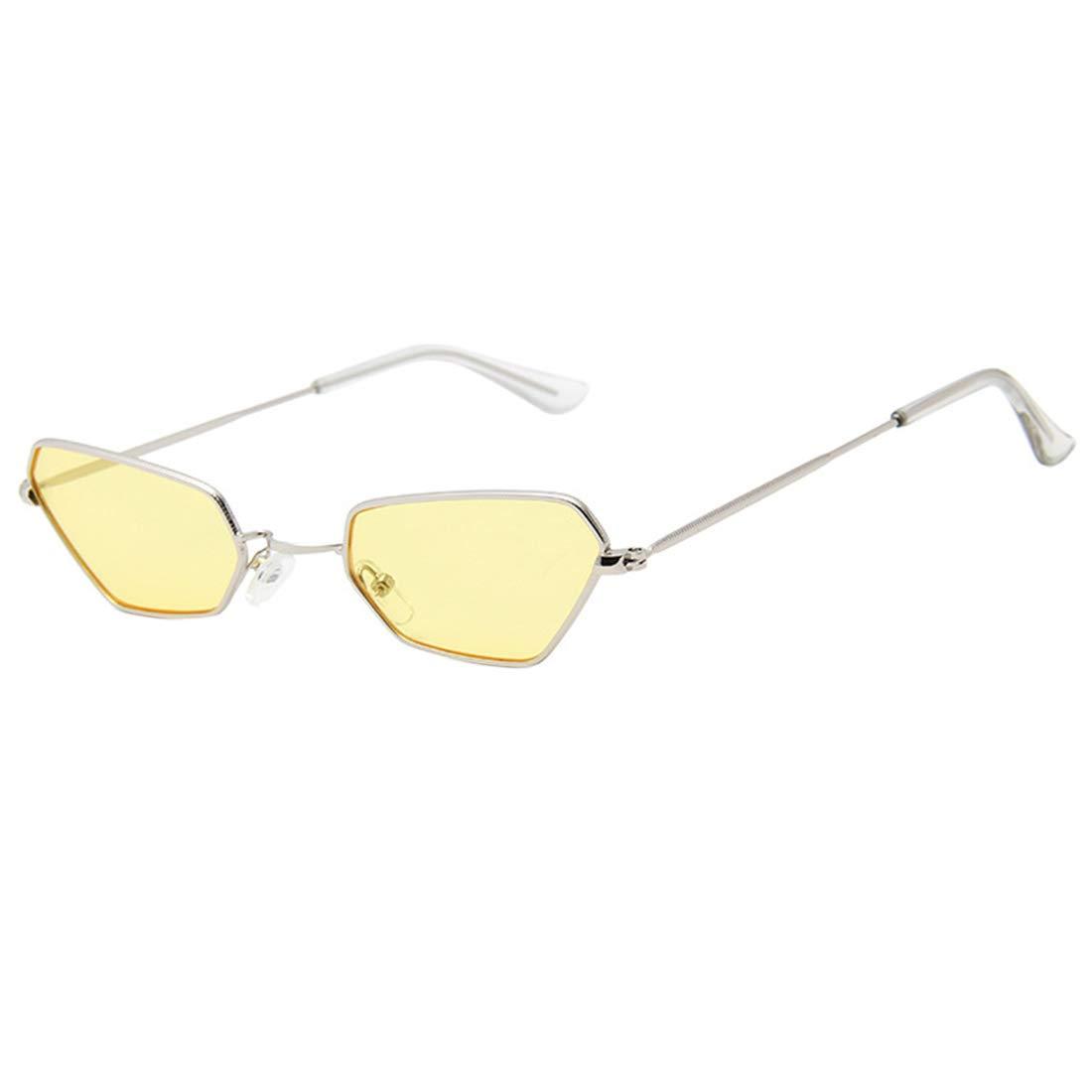 HUAYI Unisex UV400 Retro Polygon Silvery Small Frame Sunshade Sunglasses