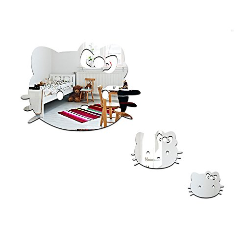 Cheap  Set of 3 Lovely Cats Wall Mirror Sticker For Kids Baby Girls..