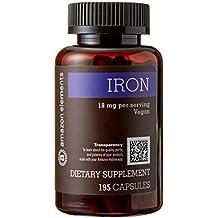 Amazon Brand - Amazon Elements Iron 18mg, Vegan, 195 Capsules, 6 month supply