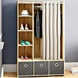 Tall Narrow Corner Storage Cabinet Curtain Storage 3 Bin Rectangle Center Armoire Commercial Cabinet with Shelves & E-Book