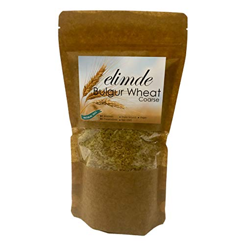 Elimde Bulgur Wheat Coarse ( 1 lb. ) | Stone Ground | %100 Natural | %100 Non-GMO Durum Wheat | For Pilaf For Salad Vegan | No Additives No Preservatives (1 Pound) Resealable Pack