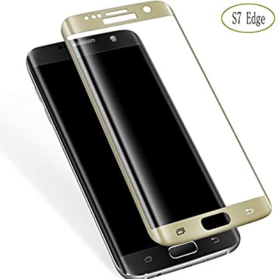 Galaxy S7 Edge Screen Protector,Elebase 3D CurvedTempered Glass,Anti-Scratch,9H Hardness,Full Coverage,Ultra HD Clear Anti-Bubble Film for Samsung Galaxy S7 Edge(Gold)