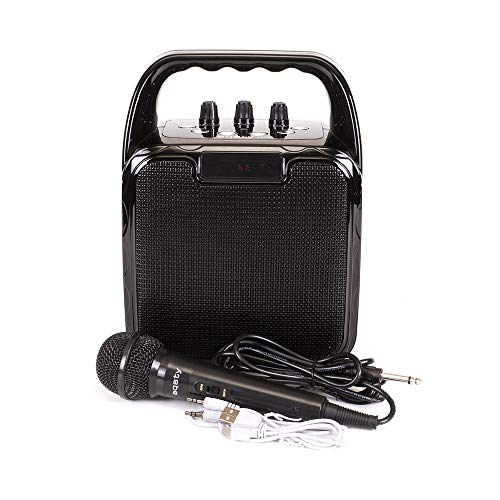 Karaoke Portable Aqsty 1019T PA Speaker System Microphone & Bluetooth 3.0,Radio FM, TF Card,Microphone Input,Aux,USB.EQ (BLACK)
