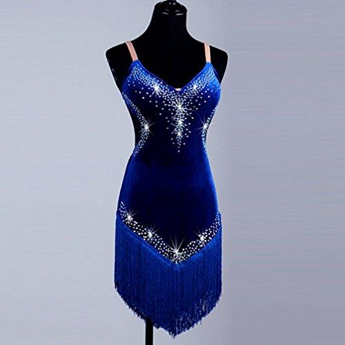 Competencia Wqwlf Honda Borla Danza Latín De Ropa Mujeres 5 S Vestido Para xxl Latina Con Terciopelo Rendimiento Rhinestone La 11xqrO