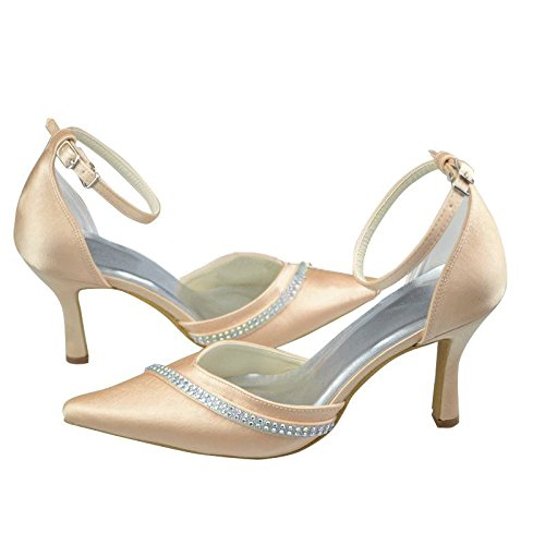 Pumps Champagne Strap Wedding Shoes Party Fashion Bridal Womens Kevin Ankle Evening Satin Prom Formal OP1Yt
