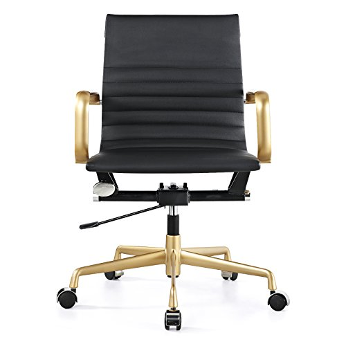 offer cheap meelano m348 vegan leather office chair gold black sale