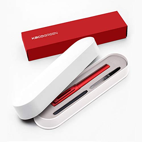 KACO Anodized Aluminum Fountain Pen SKY II Series Germany Schmidt Fine Nib & Ink Converter Execute Red Pen Gift Set for Business Signature