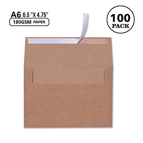 100 Pack, Brown Kraft Paper 4 x 6 Envelopes A6 - for 4x6 Cards| Self Seal| Perfect for Weddings, Invitations, Baby Shower, Handmade,Stationery for General, Office | 6.5 x 4.75 Inches (A6)