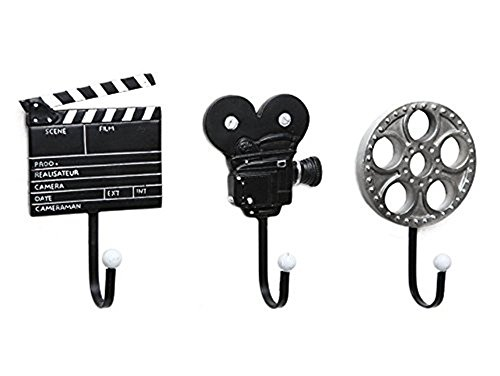 Katoot@ Set of 3 Creative Retro Style Film Equipment Design Resin Metal Wall Mounted Storage Hooks for Hanging Coats Keys Hats Umbrellas (Metal Resin)