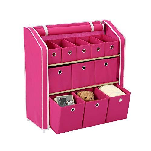 "Homebi Multi-Bin Storage Shelf 11 Drawers Storage Chest Linen Organizer Closet Cabinet with Zipper Covered Foldable Fabric Bins and Sturdy Metal Shelf Frame,31"" W x12 Dx32 H (Fuchsia)"