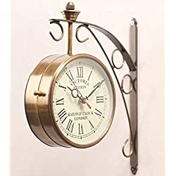 Giant Roots Golden Brass Victoria Station Clock/Double Side Clock/360 Degree Rotatable/Wall Clock for Home (6 inch, 4)