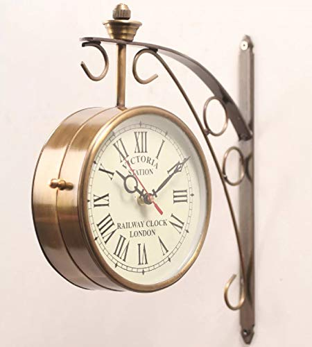 Giant Roots Golden Brass Victoria Station Clock/Double Side Clock/360 Degree Rotatable/Wall Clock for Home (6 inch, 4) (Victoria Station Clock)