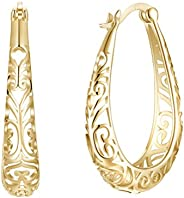 FENICAL Plated Sterling Silver Earrings High Polished Filigree Heart Oval Pierced Hoop Earbob Champaign Gold