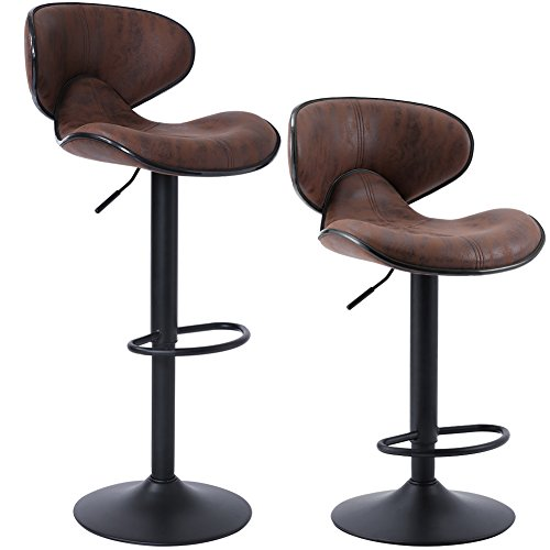SUPERJARE Set of 2 Adjustable Bar Stools, Swivel Barstool Chairs with Back, Pub Kitchen Counter Height, Retro Brown, Fabric ()