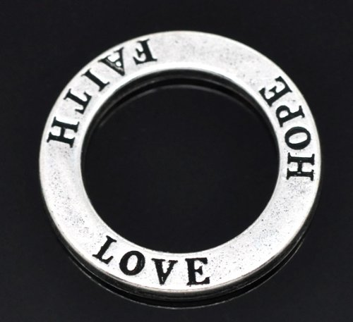 (PEPPERLONELY 20pc Antiqued Silver Alloy Circle Washer Donut Message Love Hope Faith Carved Charms Pendants 23mm (7/8