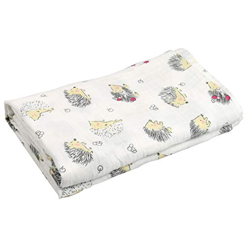 Swaddle Blankets for Baby,100% Cotton Muslin 47 x 47 inch Baby Blankets Cloth Diapers for Wrapping and Swaddling Infants (Hedgehog)