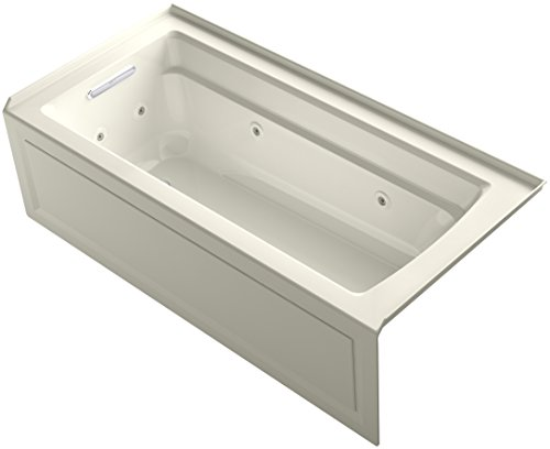 KOHLER K-1949-LA-96 Archer Exocyclic 66-Inch x 32-Inch Alcove Whirlpool Bath with Integral Apron, Tile Flange and Left-Hand Drain, Biscuit ()