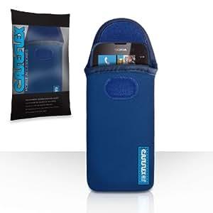 Nokia Lumia 610 Case Blue Neoprene Pouch Cover With Caseflex Logo