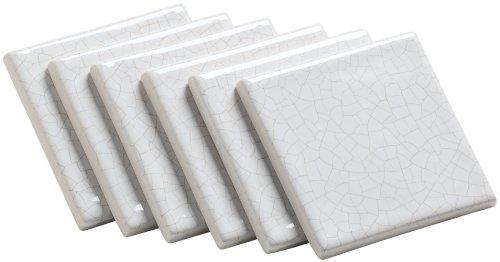 Kohler K-14200-TL-0 Fables & Flowers Decorative Field Tile, Crackle Pattern on White Background, White (Kohler Decorative Field Tile)