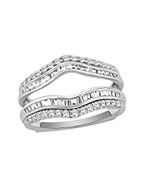 3/4 Ct Round & Baguette Shape Natural Diamond 14K White Gold Wrap Enhancer Engagement Ring