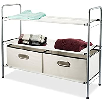 Closet Organizer   Portable Closet Systems   Closet Shelving Includes 2  Fabric Colapsable Bins   Multi