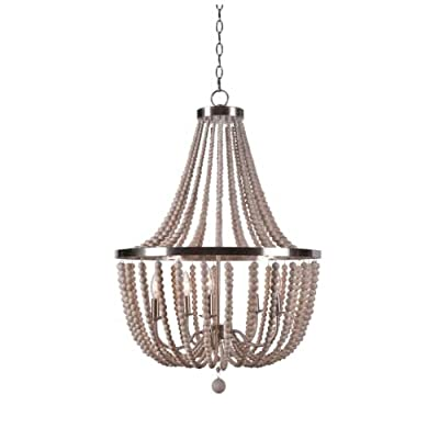 "Kenroy Home 93132 Dumas 5 Light 22"" Wide Beaded Chandelier with Strands of Decor, Brushed Steel"