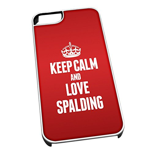 Bianco cover per iPhone 5/5S 0599Red Keep Calm and Love Spalding