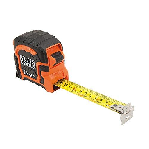 Tape Measure, 7.5-Meter Double Hook Magnetic with Finger Brake, Includes Both Feet & Meters Klein Tools 86375 - Klein Tools Measuring Tape